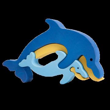 Zvieracia rodinka - Delfín - edukačné drevené skladačky