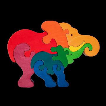 Zvieracia rodinka - Slon - drevené zvieratká