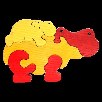 Zvieracia rodinka - Hroch - kvalitné drevené puzzle