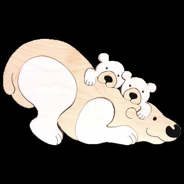 Zvieracia rodinka - Ľadový medveď - zvieratá z dreva