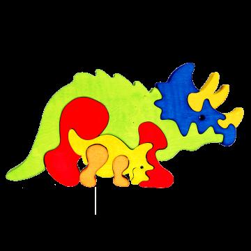 Zvieracia rodinka - Triceraptos - kvalitné drevené skladačky