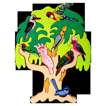 Drevené puzzle - Strom vtáctva - Austrália