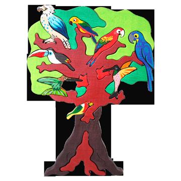Strom vtáctva - Austrália - drevená puzzle skladačka