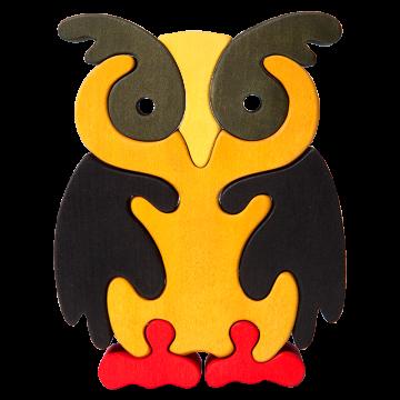 Veľké zvieratko - Sovička - drevené zvieratko na skladanie