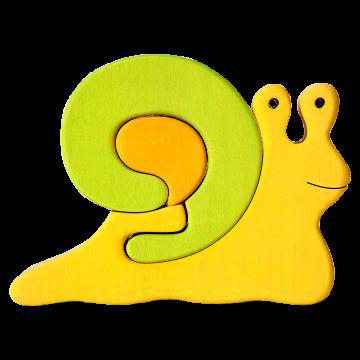 Veľké Zvieratko - Slimák zelený - ekologická drevená skladacia hračka